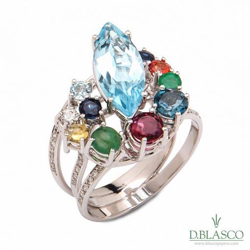 anillo oro blanco topacio azul marquise piedras finas de color joyas region de murcia blasco joyero joyeria en murcia