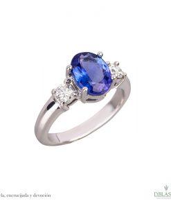 anillo de pedida oro blanco diamantes y tanzanita joyas region de murcia en blasco joyero joyeria en murcia