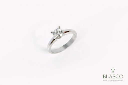 anillo de boda, pedida,compromiso, sortija boda, oro blanco,diamante, soliltario, blasco joyoero,joyeria en murcia