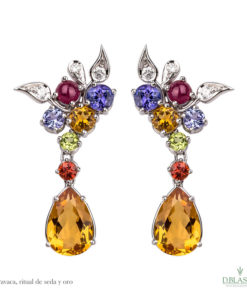 Pendientes diamantes gemas color