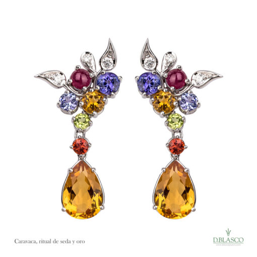 Pendientes diamantes gemas color