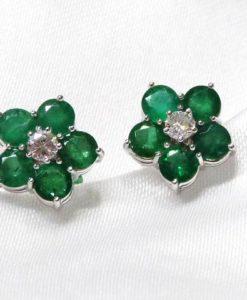 Pendientes diamantes esmeraldas