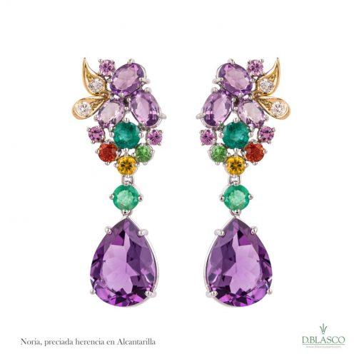 Pendientes diamantes amatistas Alcantarilla