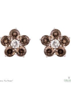 Pendientes diamante cuarzo Blanca