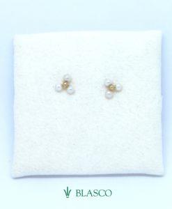 pendientes de comunion oro amarillo trebol perlas trio blasco joyero joyeria en murcia