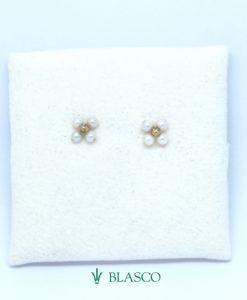 pendientes oro amarillo cuatro perlas pasadas comunion niña blasco joyero joyeria en murcia