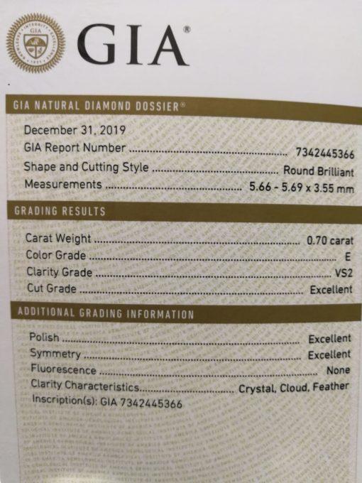 diamante 0,70 GIA EVS2