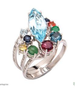 anillo de oro blanco con esmeralda rubi zafiro ropacio diamante joyas de la region de murcia en blasco joyero joyeria en murcia