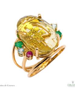 sortija de oro amarillo cruz de caravaca piedras finas joyas de la region de murcia blasco joyero joyeria en murcia