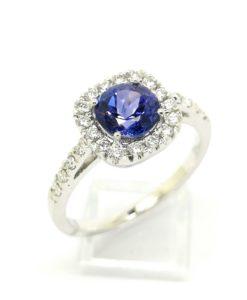 anillos de pedida oro blanco diamantes tanzanita blasco joyero joyeria en murcia