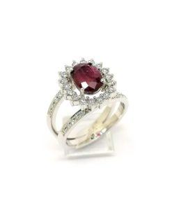 anillo de oro blanco de pedida anillo de compromiso rubi fino orla blasco joyero joyeria en murcia