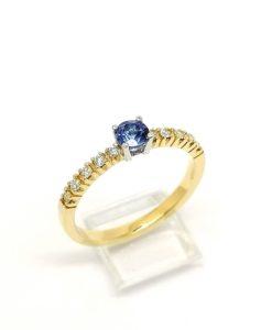 anillo solitario tanzanita con diamantes oro amarillo blasco joyero joyeria en Murcia