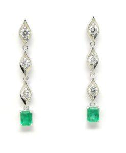 Pendientes de novia largos esmeralda y diamantes blasco joyero joyeria en murcia