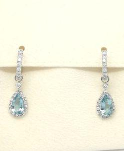 pendientes de novia desmontables oro blanco diamantes y aguamarina Blasco Joyero joyeria en murcia