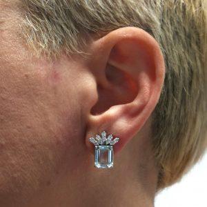 pendientes diamantes agua marina talla octogonal joyas region de murcia blasco joyero taller joyeria en murcia