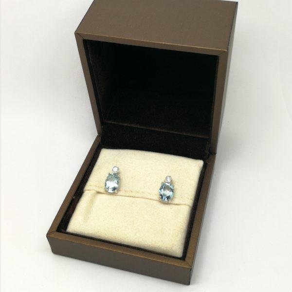 pendientes agua marina oval diamante boquilla dormilon novia en blasco joyero taller joyeria en murcia
