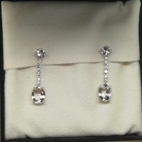 pendientes diamantes morganitas largos novia blasco joyero taller joyeria en murcia
