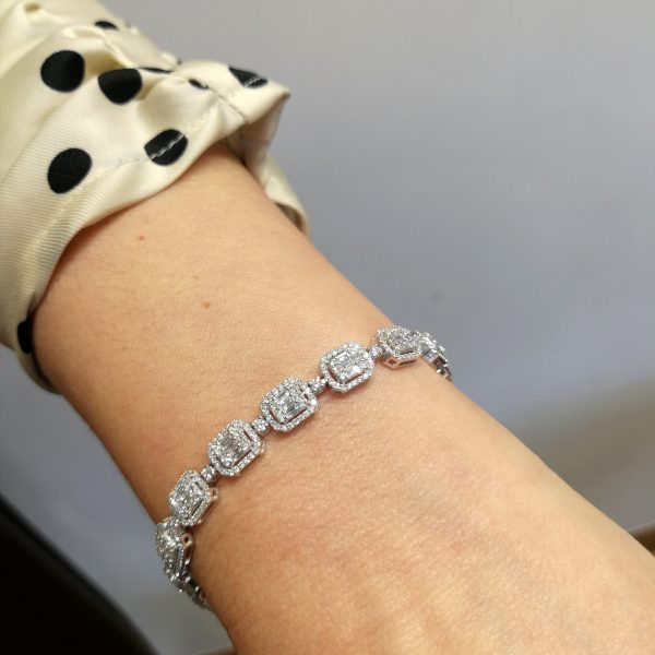 pulsera diamantes talla rectangular baguet y princesa de pedida y novias en blasco joyero taller joyeria murci