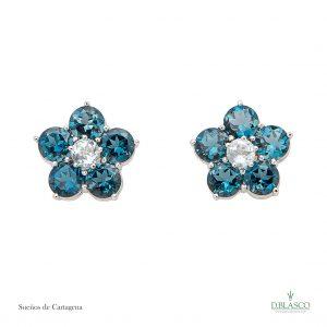 pendientes orlas topacios azul y london blue coleccion joyas de la region de murcia I edicion en blasco joyero taller joyeria de murcia