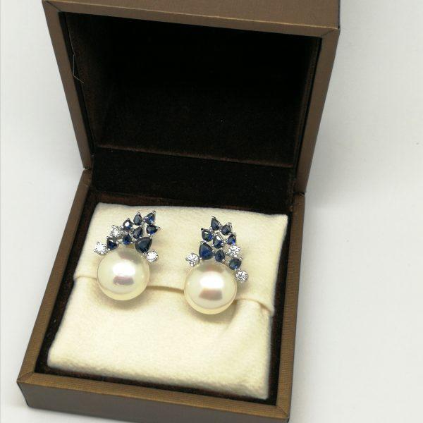 pendientes diamantes zafiros perla blasco joyero joyeria en murcia