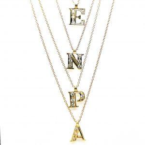 cadena colgante inicial letra con diamantes largo cadena regulable en blasco joyero taller joyeria en murcia