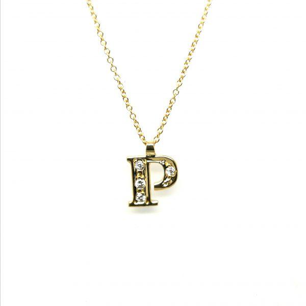 cadena con colgante inicial letra diamantes largo cadena regulable juvenil en blasco joyero taller joyeria en murcia