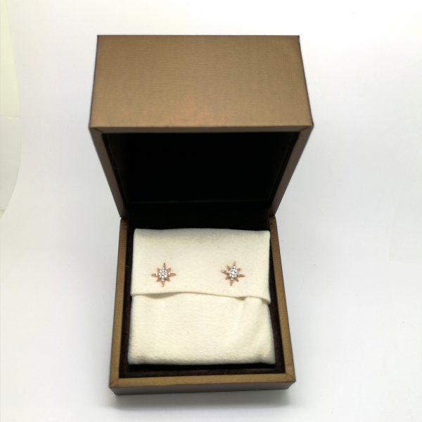 pendientes estrella juveniles diamantes oro rosa blasco joyero joyeria en murcia