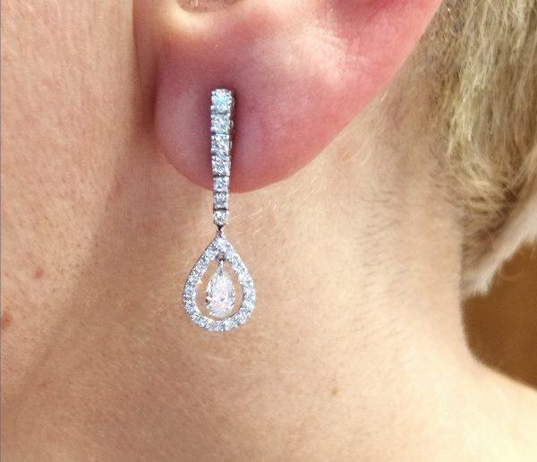 pendientes novia largos diamantes lagrima blasco joyero joyeria en murcia