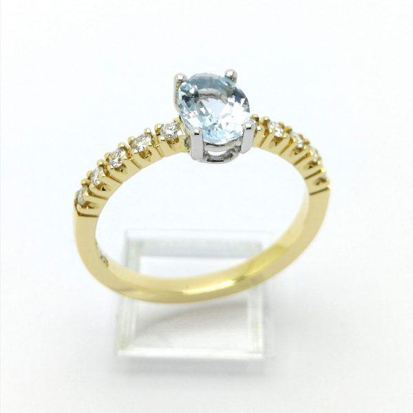anillo oro amarillo aguamarina y diamantes
