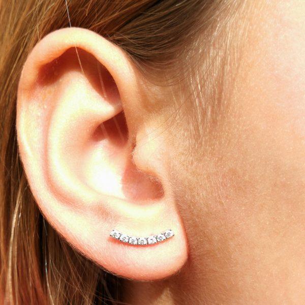 pendientes juveniles diamantes varios agujeros tira lobulo, blasco joyero. murcia, taller de joyeria en murcia, joyeria en murcia