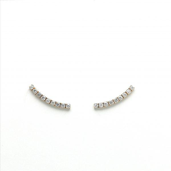 pendientes diamantes segundo agujero, pendientes modernos diamantes pegados, pendientes oro rosa y diamantes, joyeria en murcia, taller de joyeria en murcia, murcia, blasco joyero