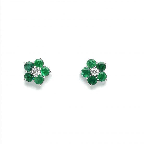 pendientes orlas esmeraldas y diamante, esmeraldas, pendientes esmeraldas pegados, joyerias en murcia, taller de joyeria en murcia, blasco joyero