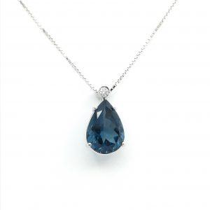 colgante topacio london blue lagrima y diamante, joyerias en murcia, joyas murcia, joyas en murcia, Murcia, joyerias, blasco joyero, talller de joyeria en murcia, blasco, encargos de joyeria
