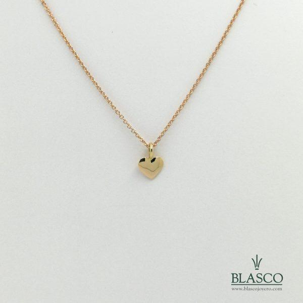 cadena oro rosa colgante corazon oro amarillo doble largo 45 40 juvenil minimalista elegante fina colgante gargantilla taller joyeria en murcia blasco joyero joyeros