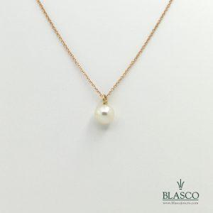 cadena oro rosa perla doble largo 45 40 juvenil minimalista elegante fina colgante gargantilla taller joyeria en murcia blasco joyero joyeros